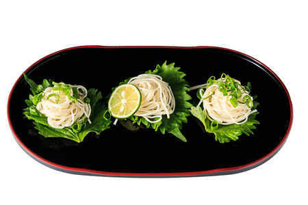 lacquerware: Somen - Japanese style thin wheat noodles on the Japanese lacquerware Stock Photo