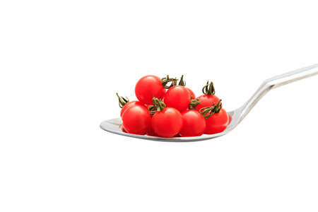 micro: Many micro tomato on the spoon Stock Photo