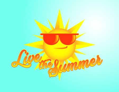 Live the summer sun with glasses vector illustration. Illustration