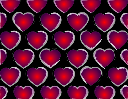 black background of hearts in gradient