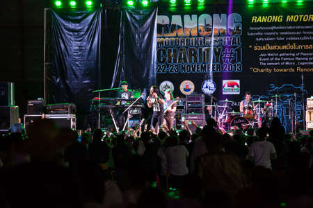 Ranong-Thailand -  November 22,2013   join the 1 st gathering of passionate bikers in the gateway city to andaman Even of the famous ranong product,southern travel services and many more The concert of MICRO,Legendary rock band of thailand Editorial