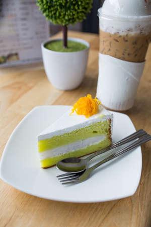 tarde de cafe: torta con caf� en el caf� de la tarde.