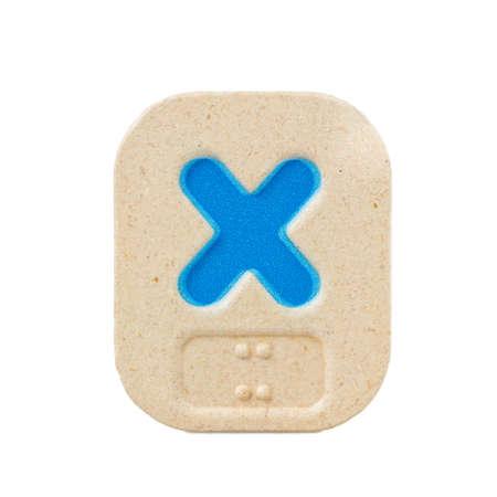 braille: alphabet x on white background  with Braille.