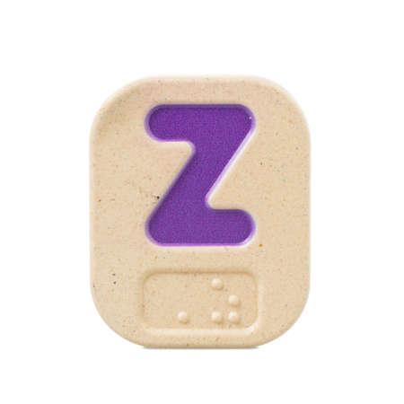braille: alphabet Z on white background with Braille.