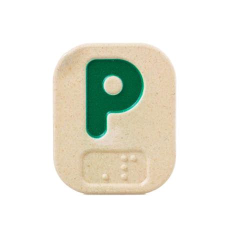 braille: alphabet P on white background  with Braille.