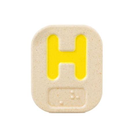braile: H alfabeto sobre fondo blanco con Braille. Foto de archivo