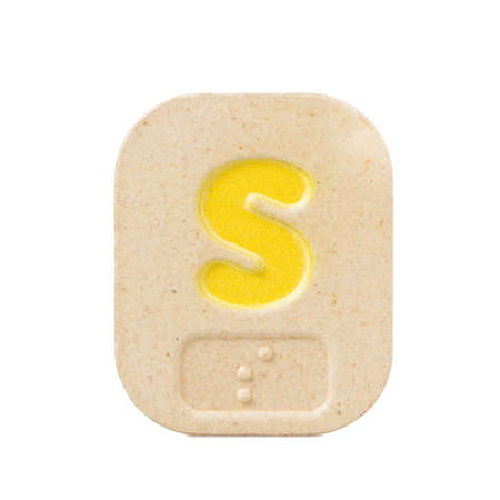 braille: alphabet s on white background  with Braille.