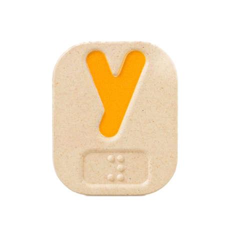 braille: Alfabeto Y en el fondo blanco con Braille.