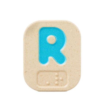 braille: R alfabeto sobre fondo blanco con Braille. Foto de archivo