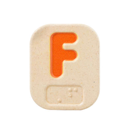 sightless: alphabet F on white background  with Braille.