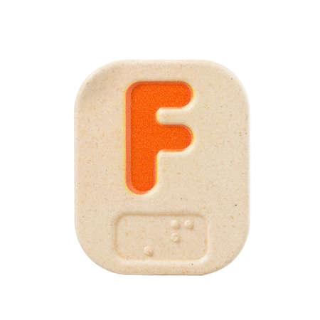 braille: alphabet F on white background  with Braille.