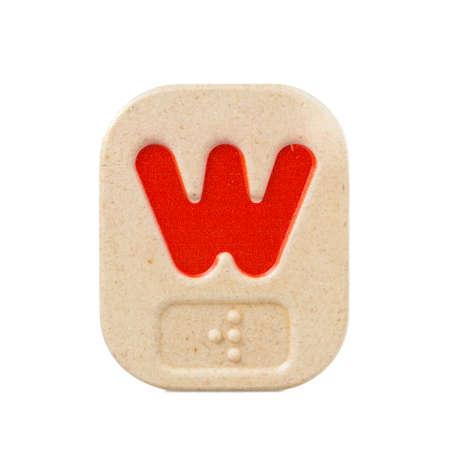 braille: alphabet w on white background  with Braille.