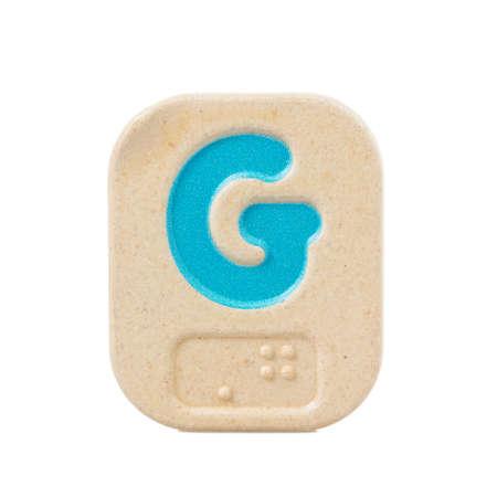 braille: G del alfabeto sobre fondo blanco con Braille.