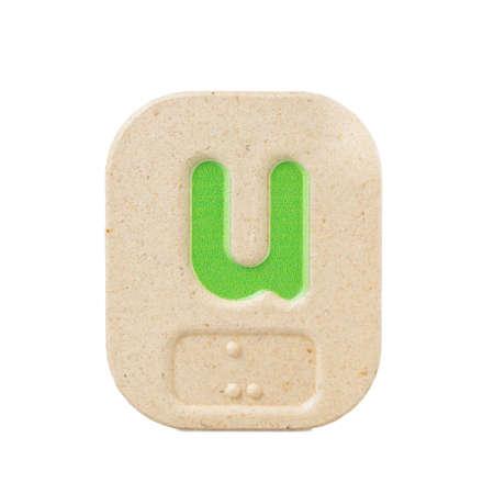 braille: alphabet u on white background  with Braille. Stock Photo