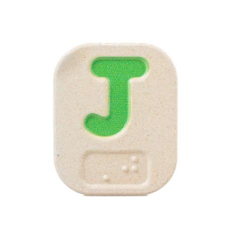 braille: alphabet J on white background  with Braille.