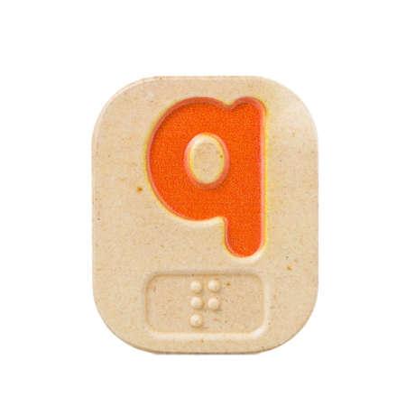 braile: q alfabeto sobre fondo blanco con Braille. Foto de archivo
