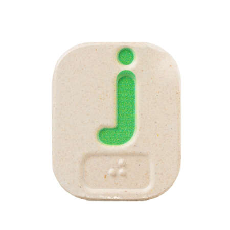 braille: alphabet j on white background  with Braille. Stock Photo