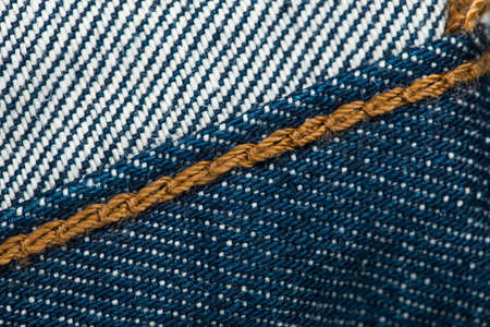 blue denim: inside Blue denim jeans texture with seams. Stock Photo