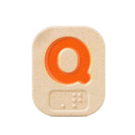 braille: Q alfabeto sobre fondo blanco con Braille.