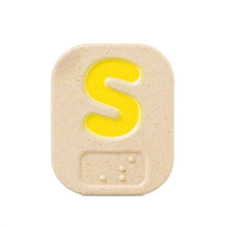 alphabet S on white background  with Braille. Stock Photo
