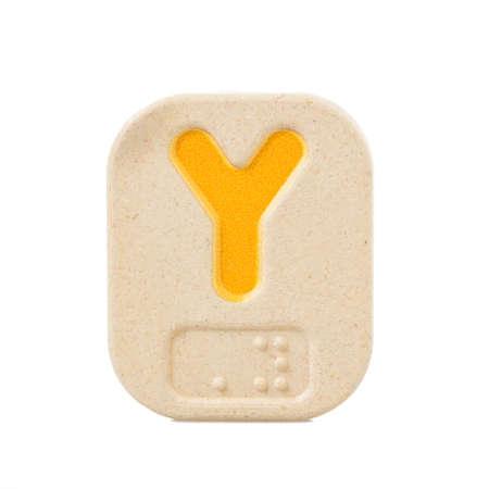 alphabet Y on white background with Braille.