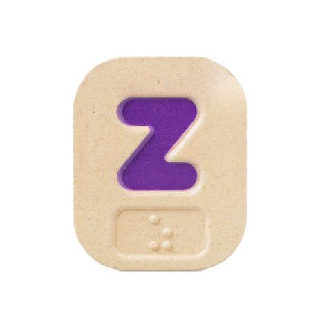 braille: alphabet z on white background  with Braille. Stock Photo