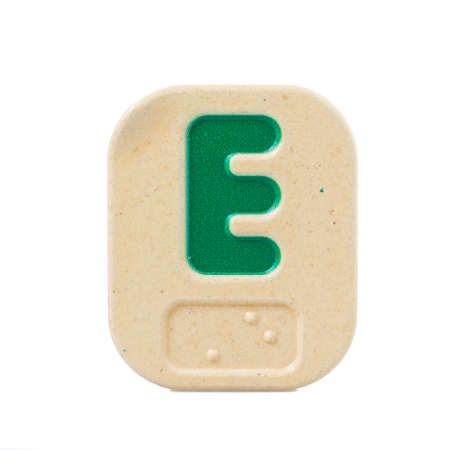 braille: alphabet E on white background  with Braille. Stock Photo