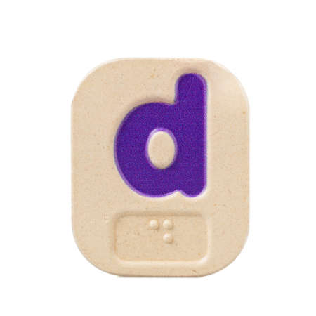 braille: alphabet d on white background  with Braille. Stock Photo