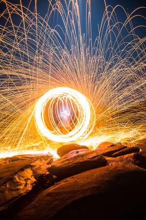 Long exposure of steel wool begin of light. Stock Photo