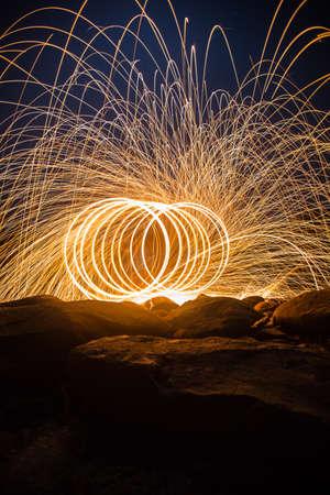 steel wool: Fire spinning from steel wool.