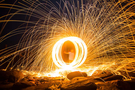Long exposure of steel wool begin of light. Stock fotó