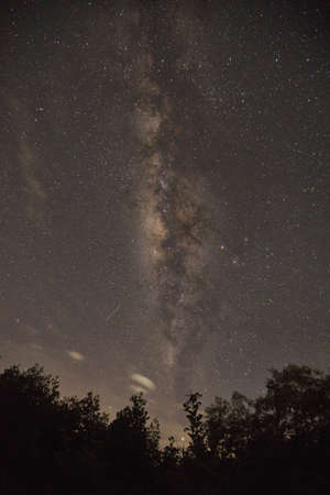 milkyway: Rainy season Milky Way,south of thailand,ranong. Stock Photo