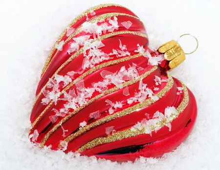 Red Heart with Snow - Christmas Time Stock Photo - 8169507