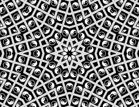 mandalas: Yin Yang Mandala - black and white Stock Photo