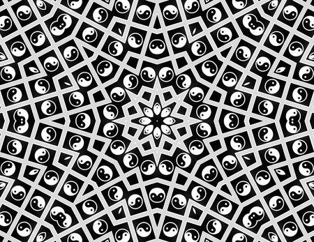 esoterismo: Yin Yang Mandala - blanco y negro