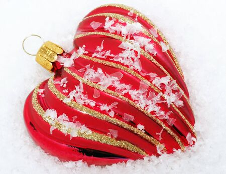 cordiality: Red Heart with Snow - Merry Christmas Stock Photo