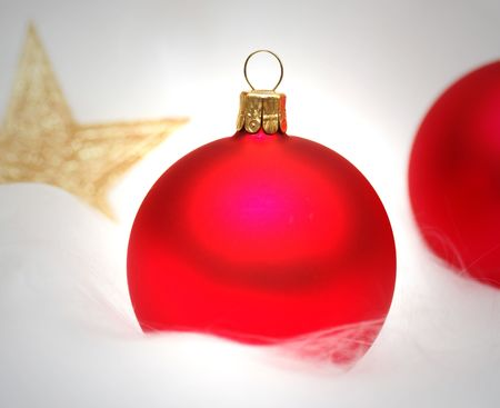 Christmas Bauble red with golden Star Stock Photo - 8258877