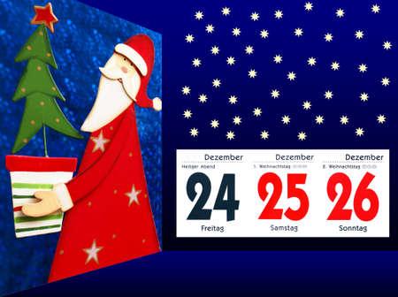 Santa Claus with Calendar - Merry Christmas photo