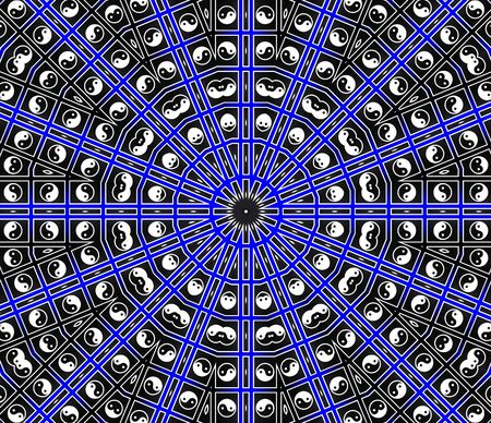 Blue Center Point Mandala Stock Photo - 8258912
