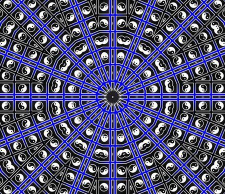 esotericism: Blue Center Point Mandala Stock Photo