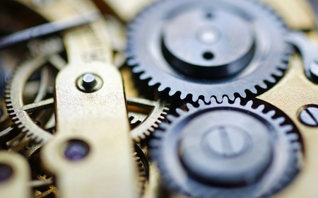 synergies: Watch Mechanism - close-up view Stock Photo