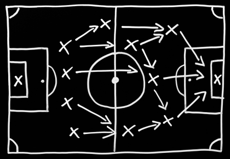 planning strategy: Soccer Tactics Stock Photo