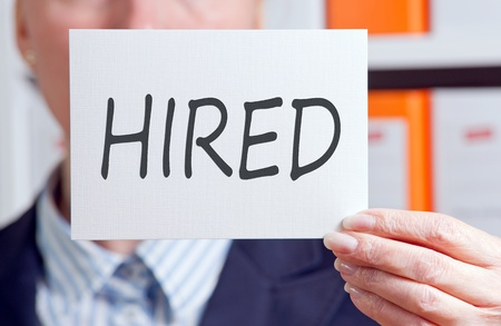 recruiting: Hired Stock Photo