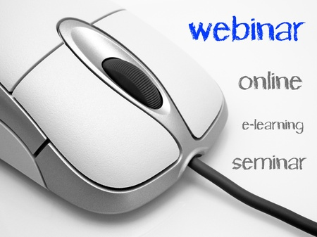 online conference: Webinar - online elearning seminar Stock Photo