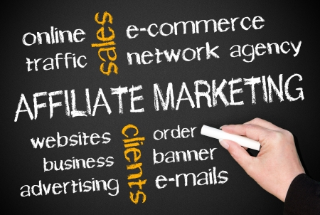 mail marketing: Affiliate Marketing - Business Concept Stock Photo