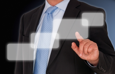 Businessman with Touchscreen Stock Photo - 18496467