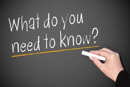 query: Wat heb je nodig om te weten Stockfoto