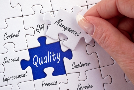 out of production: Quality Management Stock Photo