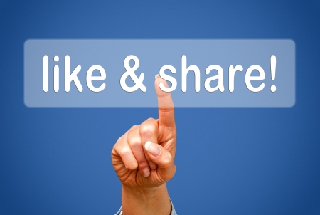 like hand: like and share Stock Photo