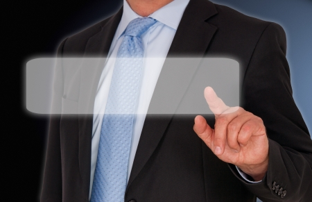 Businessman with Touchscreen Stock Photo - 19029332